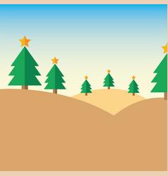 christmas tree on mountain vector image