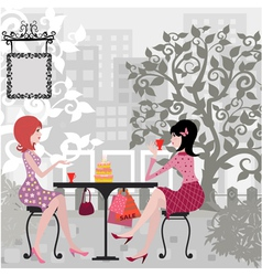 Floral Girls Cafe vector image vector image