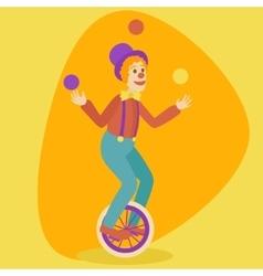 Juggler man on retro old unicycle cartoon vector image