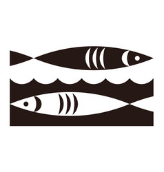 two fish and waves icon vector image vector image