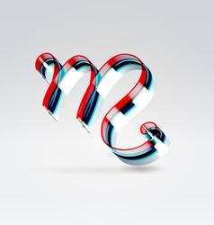 Fantasy plastic 3d glowing ribbon typeface vector image vector image
