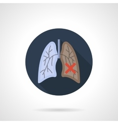 Lung cancer flat color round icon vector image vector image