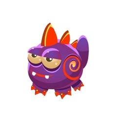 Purple fantastic friendly wingless pet dragon vector