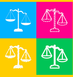 scales of justice sign four styles of icon on vector image vector image