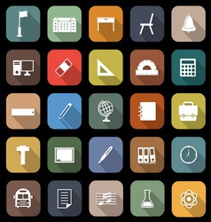School flat icons with long shadow vector image