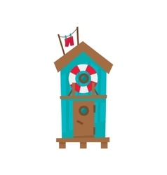 Beach Cabin With Life Preserver Buoy vector image vector image