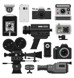 Photo and camera set vector image