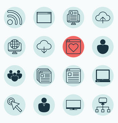 set of 16 internet icons includes team local vector image