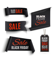 Set of Black Friday banners and price tags vector image