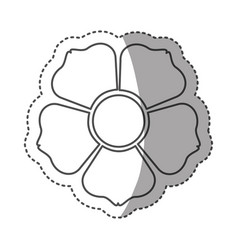 sticker monochrome contour with flower icon vector image vector image