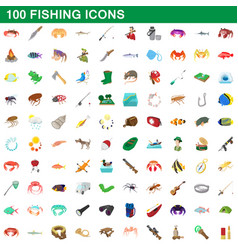 100 fishing icons set cartoon style vector image