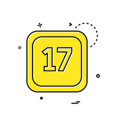 17 date calender icon design vector image