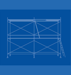 3d outline scaffold rendering of 3d vector image