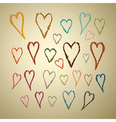 Abstract Hand Drawn Hearts Set on Paper Background vector image vector image