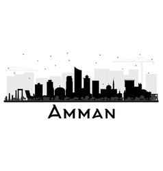 Amman jordan city skyline black and white vector