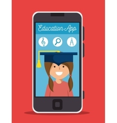 App education online girl smartphone design vector