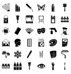 art university icons set simple style vector image vector image
