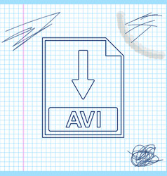 avi file document icon download avi button line vector image