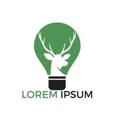 Beautiful deer and an electric light bulb logo vector