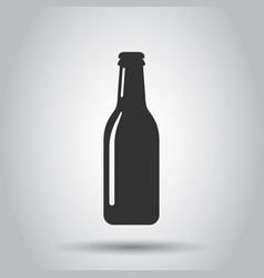 beer bottle icon in flat style alcohol bottle on vector image