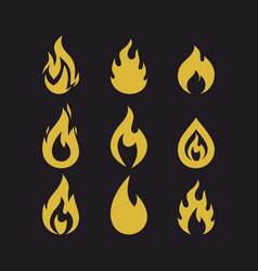 big set of flames vector image