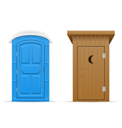 Bio and wooden outdoor toilet vector