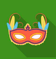 brazilian carnival mask icon in flate style vector image