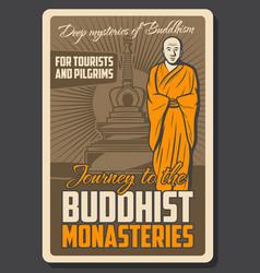 Buddhist monastery monk and stupa vector