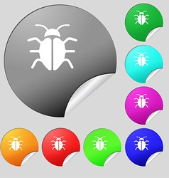 Bug Virus icon sign Set of eight multi colored vector