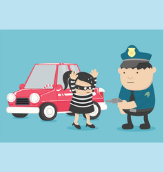 Car theft the bandit a girl caught the vector