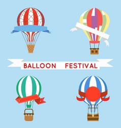 cartoon aerostat air balloon festival sky flight vector image