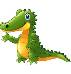 cartoon crocodile presenting vector image