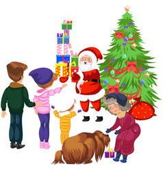 cartoon family taking presents from santa claus vector image