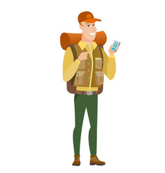 caucasian traveler holding a mobile phone vector image