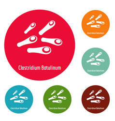 clostridium botulinum icons circle set vector image