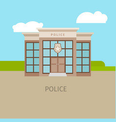 Colored urban police building vector