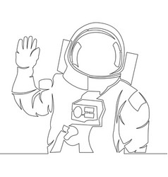 continuous single drawn one line astronaut concept vector image