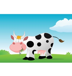 cow eating vector image