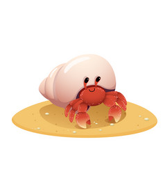 Cute cartoon hermit crab crawling vector
