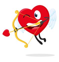 Cute heart cupid ready to shoot with arrow vector