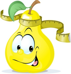 Cute pear smiling with tape measure - vector