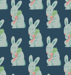 Cute rabbit holding carrot seamless pattern vector image