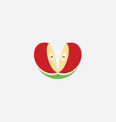 Cutted apple logo clipart icon vector
