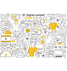 digital content doodle set vector image