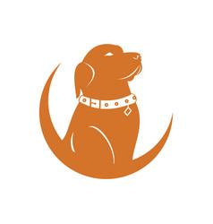 dog moon logo vector image