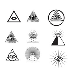 Egyptian pyramids icon set in flat and line style vector