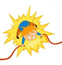 electrician shock vector image