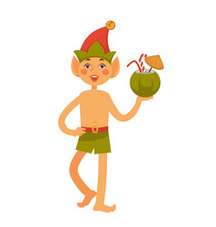 Elf in hat and swim trunks holds coconut cocktail vector