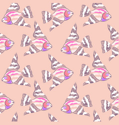 fish pink embroidered abstract seamless pattern vector image