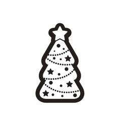 Flat icon in black and white Christmas tree vector